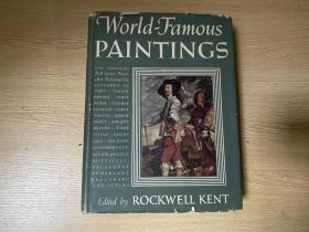 (罕見存護封老版書)World Famous Paintings   世界名畫欣賞,著名木刻畫家 洛克威爾·肯特 Rockwell Kent 編,布面精裝,畫作是另紙印再手工貼上,重約3公斤,1939年老版書