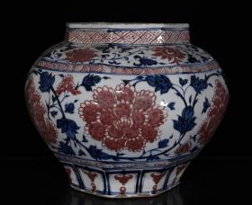 元代青花釉里红缠枝牡丹纹罐