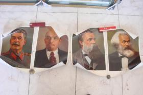 马,恩,列,斯4张宣传画一套,油光纸,人民美术出版社,72—11京4