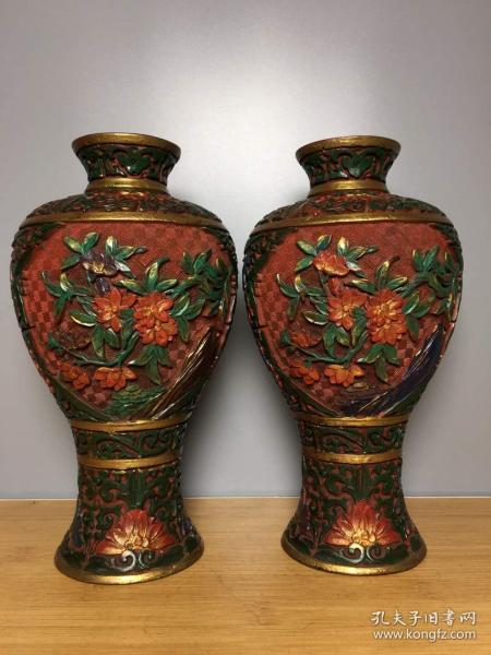 漆器彩繪花瓶一對高23厘米