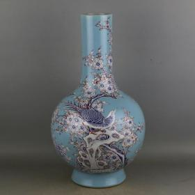清青釉粉彩花鸟纹天球瓶