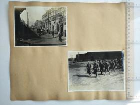 来自侵华日军联队相册,1页正反面贴4张照片,有福赐号纸张布庄,福利字样,街景,商业场景
