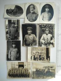 来自侵华日军联队相册,10张照片,日军军官,有前16师团长,照片背面有日军陆军中将松井兵三郎,陆军大臣,陆军大将字样