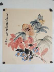 萧龙士   花卉 尺寸45x42