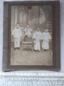 无锡钱海岳一族流出:民国时期无锡钱氏表兄妹四人合影老照片
