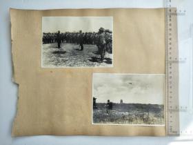 来自侵华日军第10师团长佐佐木到一,鸟取40联队长庄司大佐,联队相册,正反面贴4张照片,日军军官,士兵,日军飞机,司号兵