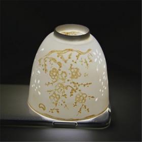 明梅花纹薄如纸玲珑杯