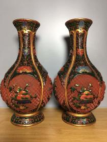 漆器彩繪花瓶一對高25厘米