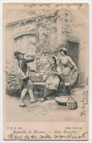 比利时 1901年 实寄明信片 拔鹅毛男人与美丽女人CARD19/1014