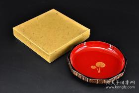 日本櫻皮細工·原盒漆盤一件