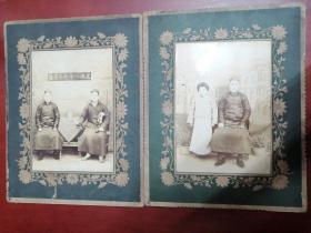 民国老照片:民国八年仲冬肖像(2张合售尺寸较大)