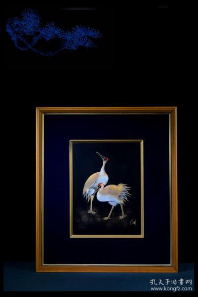 日本古董收藏品精美漆器正峰作雙鶴齊鳴沈金工藝客廳書房掛鏡掛屏