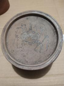 老蟋蟀盆 二龙戏球图 蛐蛐罐