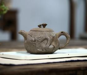 宜兴紫砂壶名家纯手工青灰段泥 浮雕游龙灵芝供春茶壶功夫泡茶具