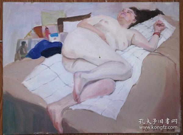手绘布面油画:陈小月(人物 40x30 已绷框)