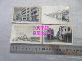 约解放初期梅县老照片一组共5张:梅江桥、梅县华侨大厦、梅县南门街道