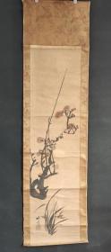 D1519:回流手绘花卉图立轴(日本回流字画.日本回流书画.回流老画.回流老字画精品.真品字画)