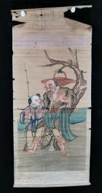 【日本回流】原装旧裱 佚名 国画作品《人物》一幅(纸本立轴,画心约5.5平尺)HXTX196180