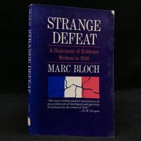 1968年,法国历史学家马克·布洛克《奇怪的失败:写于1940年的证据陈述》,平装,Strange Defeat: A Statement of Evidence Written in 1940 by