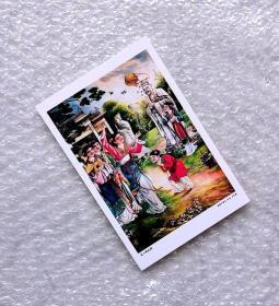 美女散花图【民国广告画.年画,月份牌明信片】满10张包邮