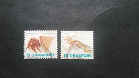 新加坡邮票(动物):1977 海洋生物 2枚