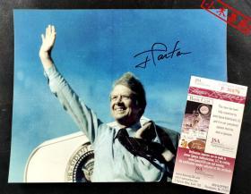 """""""第39任美国总统""""吉米·卡特 总统亲笔签名照片(约8×10英寸) 由三大签名鉴定公司之一JSA提供鉴定"""