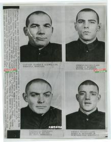 1955年美联社新闻传真照片,朝鲜战争中被中国人民志愿军俘虏的四名美国飞行员照片