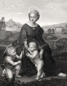 维也纳藏画集 钢版画 草地上的圣母