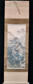 【日本回流】原装旧裱 佚名 国画作品《深山访友》一幅(纸本立轴,画心约3.1平尺,款识钤印:春山)HXTX196232