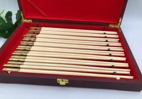 高端礼藏,送礼首选,镶嵌猛犸精雕冰牙筷子
