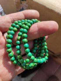 湖北竹山菜籽黄绿松石,原矿松石手链手串108颗。有多条,基本一样。