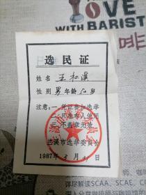 兰溪县选民证  王松溪  (兰溪县选举委员会) 1980年,1984年,1987年  三枚