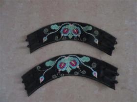 手工老刺绣花卉彩绣袖口一对收藏清代民国老服装怀旧历史记忆精品