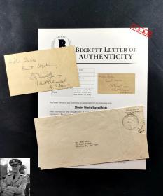 """""""盟军太平洋战区总司令"""" 尼米兹 附言并签名明信片 附海军司令部原信封  由三大签名鉴定公司之一Beckett(BAS)提供鉴定"""