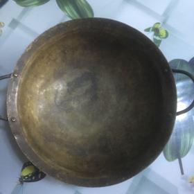 少见的,古老的双耳铜锅一个2【包老】,重量440克。喜欢的朋友不要错过!