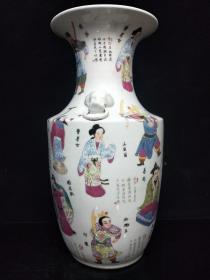 粉彩花瓶,年龄大了留着没用了低价出..