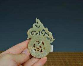 老玉和田玉手工雕刻匠人古董古玩收藏艺术品透雕玉佩