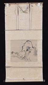 【日本回流】原装旧裱 佚名 国画作品《山水》一幅(纸本立轴,画心约0.8平尺,款识钤印:闲云)HXTX196322
