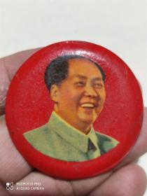 毛泽东像章手工制作 铁的 直径5厘米品相如图
