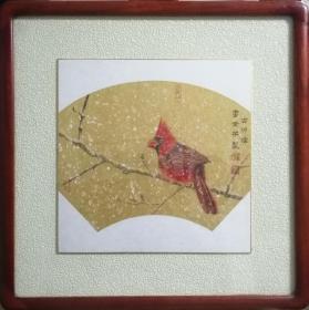 雷澄宇中国画《红衣主教》新中式家居挂画实木画框