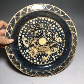 唐三彩盤子 直徑:24.8cm高:2.4cm  935.4g           ——10月21日