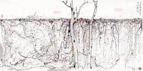 吴冠中 墙上秋色。纸本大小68.2*137.22厘米。宣纸原色微喷印制。