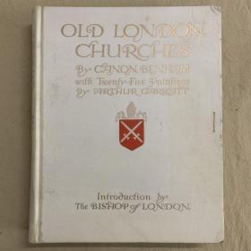 限量编号签名本:Old London Churches  《古老的伦敦教堂油画版》初版本 限量500本 插画家签名