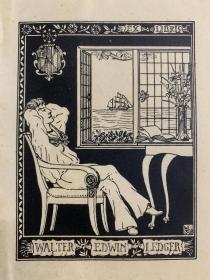 1898年老藏書票  Walter Edwin Ledger自制藏書票