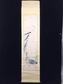 【全场包邮】原装旧裱 清末民国 著名花鸟画家   佐藤紫烟 绘 芦雁图 立轴一件