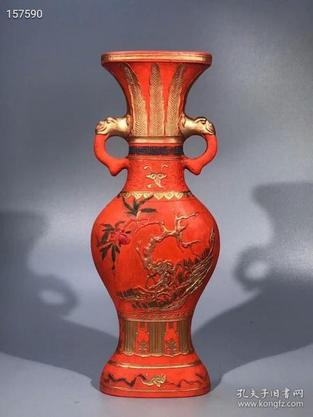 朱砂墨壽桃花瓶重約950g
