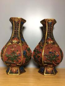 收藏漆器彩繪花瓶高25厘米