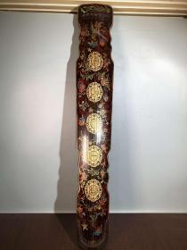 收藏實木滿工手工鏨刻彩繪漆器好琴古琴長1.22米