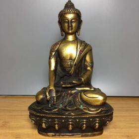 纯铜镶宝石释迦摩尼佛佛像一尊摆件收藏高20厘米