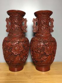 收藏漆器大漆剔紅花瓶高25.5厘米
